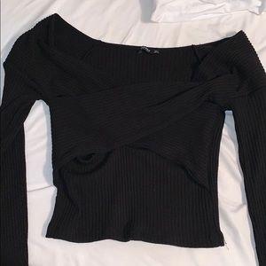 Black Bandeau Top Knitted (off shoulders) crop top